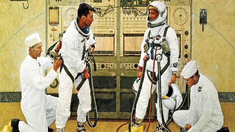 Illustration for article titled NASA Loaned Norman Rockwell a Spacesuit for This Picture