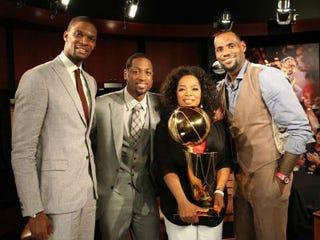 Miami Heat trio with Oprah (George Burns/Harpo Studios)