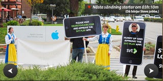 Illustration for article titled Swedes Camping Outside Apple HQ Asking Steve Jobs to Approve Their App [Updated]