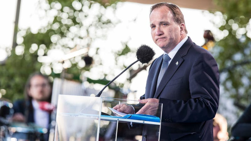 Swedish Prime Minister Stefan Lofven holds a press conference. Photo: Getty