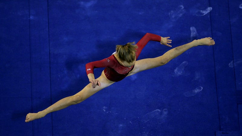 Anastasia Liukin, who practiced for more than one month to be able to do this.
