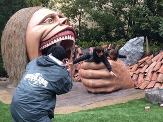 Illustration for article titled Attack on Titan Statues Are Eating Japanese Tourists