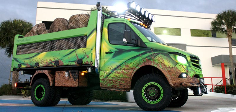 Illustration for article titled This Extreme Off-Road Dump Truck Proves Mercedes Has A Sense Of Humor