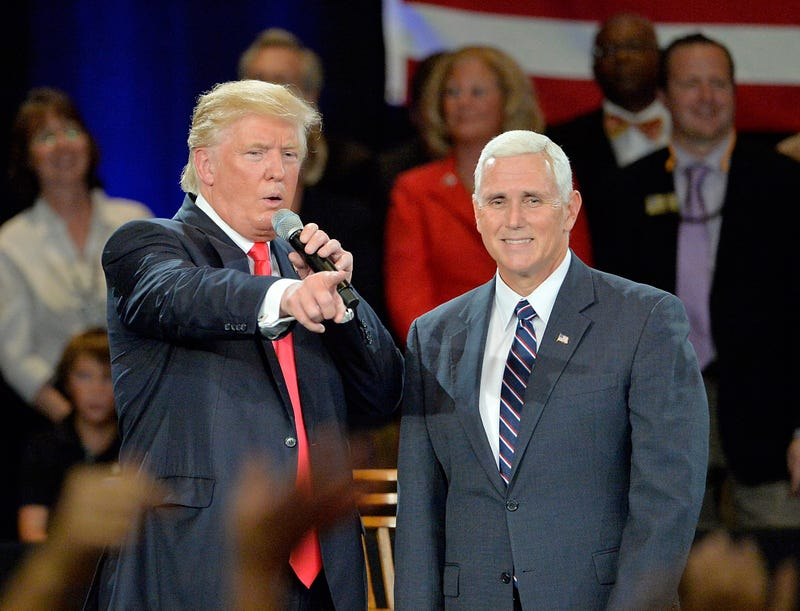Then-candidates Donald Trump (L) and Mike Pence take questions from the audience at the Hotel Roanoke & Conference Center on July 25, 2016, in Roanoke, Va. Trump made a point to address the evangelicals during his visit to the bible belt.