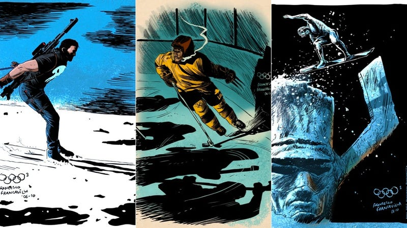 Illustration for article titled Iceman Should Really Be in These Superhero Winter Olympics Drawings