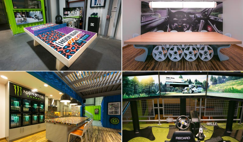 Illustration for article titled Ken Block's New Headquarters Is A Garage Mahal Made Of Shipping Containers And Hoonage