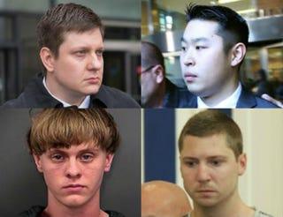 Top row: Jason Van Dyke; Peter Liang. Bottom row: Dylann Roof; Ray Tensing.Top row: Scott Olson/Getty Images; Spencer Platt/Getty Images. Bottom row: Charleston County Sheriff's Office via Getty Images; Grace Beahm-Pool/Getty Images.