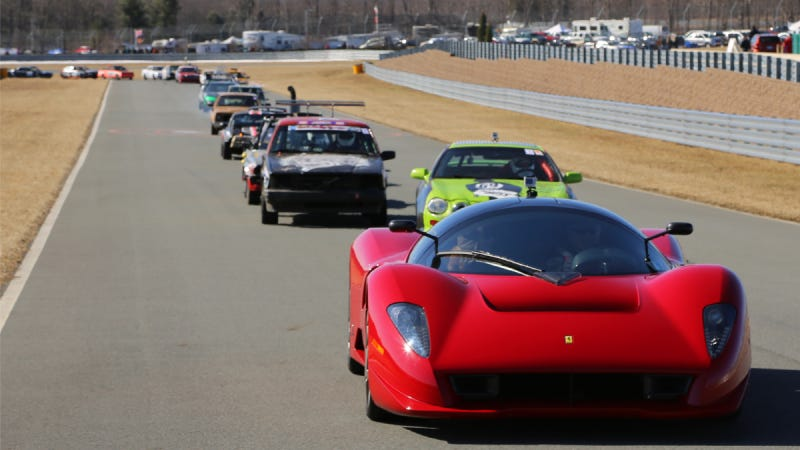 Illustration for article titled Watch The Ferrari P4/5 Lead Some Glorious Beaters Around A Lemons Track