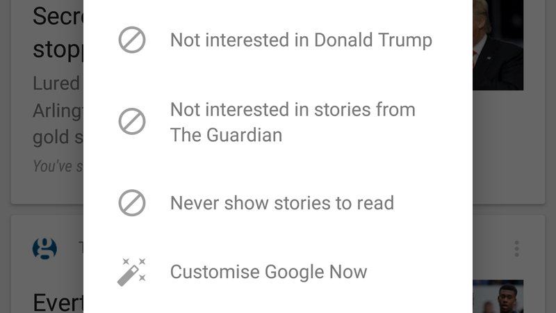 Illustration for article titled Prevent Google Now From Showing Stories From Sites or Topics You Don't Like