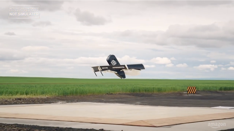 A test flight of a recent Amazon delivery drone design