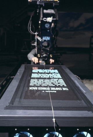 Illustration for article titled So That's How They Filmed the Star Wars Opening Crawl...