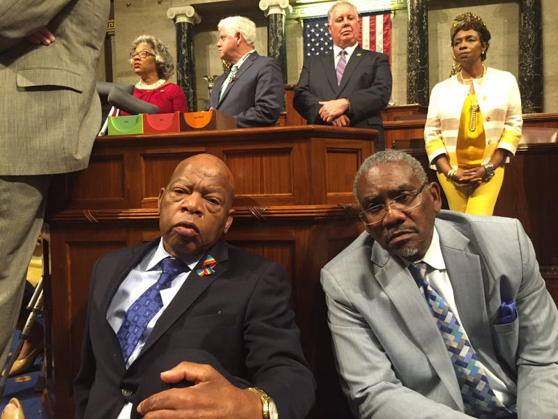Rep. John Lewis sits next to Rep. Gregory Meeks on the floor of the House of Representatives in Washington, D.C.,  on June 22, 2016.Lauren Victoria Burke