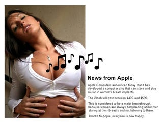 Illustration for article titled Sadly, the iBoob Breast Implant MP3 Player Won't be Fast-Tracked by Fake Steve Jobs