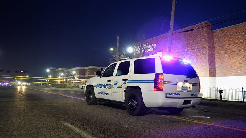 Police block off an area on South Florissant Road outside the Ferguson Police Department on March 12, 2015 in Ferguson, MO.