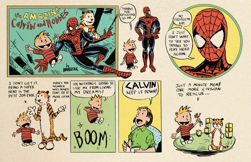Illustration for article titled When Calvin And Hobbes Met Spider-Man