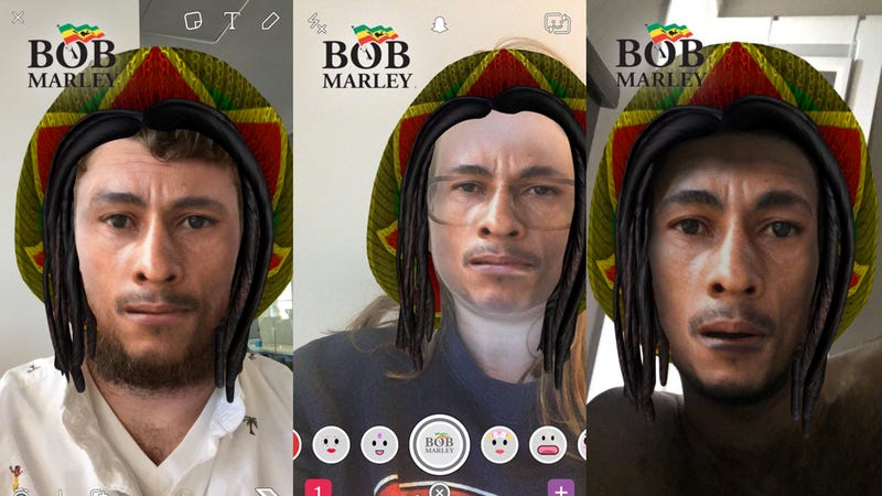 Illustration for article titled Snapchat's Offensive 'Bob Marley' Filter Gives You Instant Blackface