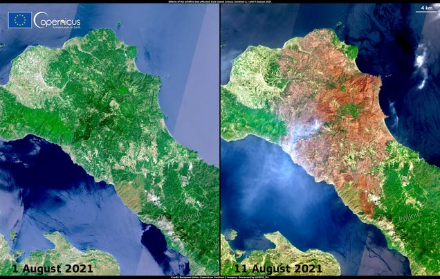 Satellite Images Reveal Greece's Hell on Earth