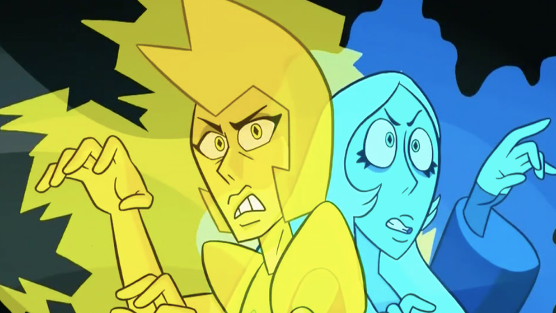 Yellow and Blue Diamond sensing Steven Universe's presence.