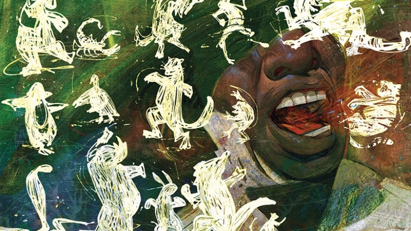 A preview of Francis Vallejo's art in the Folio Society's collectors edition of Neil Gaiman's Anansi Boys. All images: The Folio Society.