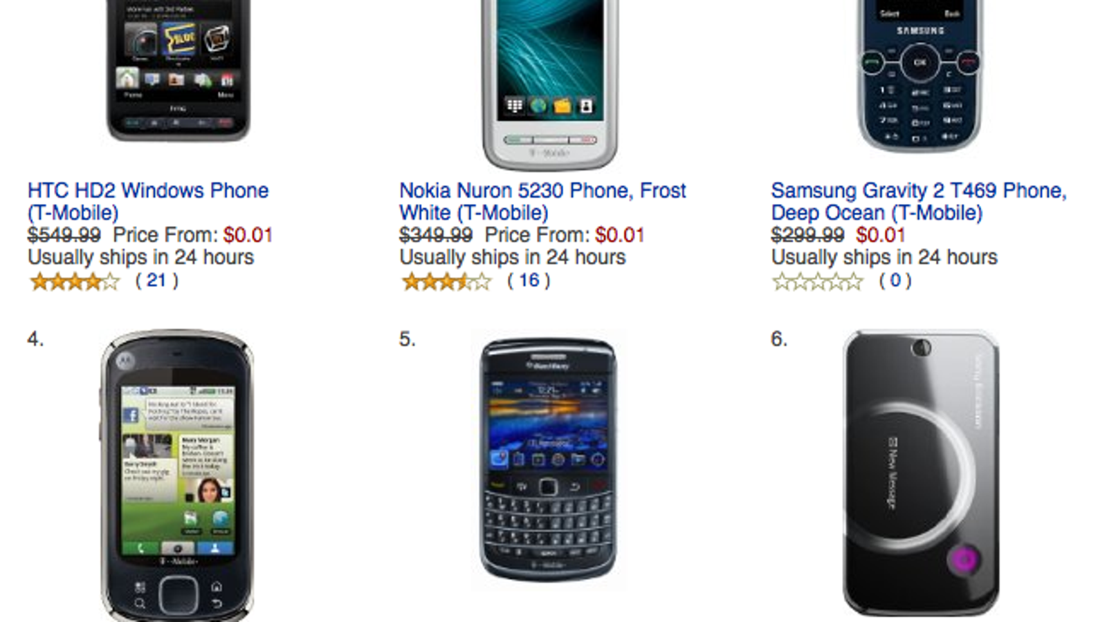 Amazon Offering All T Mobile Phones For 1 Cent