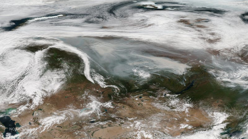 Smoke from Russian wildfires seen by the Suomi NPP satellite on September 18th, 2016. Image: NOAA/NASA