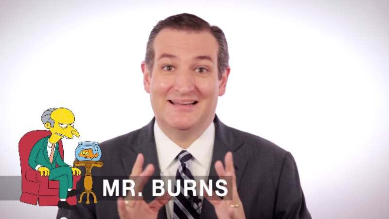 Illustration for article titled Ted Cruz's awful Simpsons impressions are good for keepin' down the urges