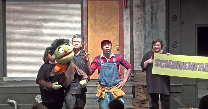 Avenue Q cast members love to sing about schadenfreude. (Image: YouTube)