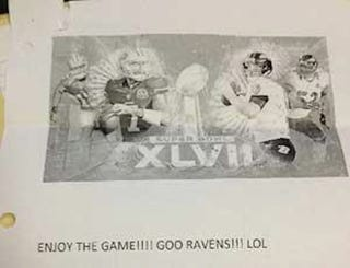 "Illustration for article titled 49ers Fan Says She Wired Some Guy $5,900 For Super Bowl Tickets, But All She Got Was A Note That Read, ""Go Ravens!!!"" [UPDATED]"