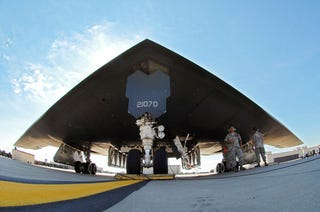 Illustration for article titled A Stealth Bomber Is Like A Parasol With Satellite-Guided Bombs