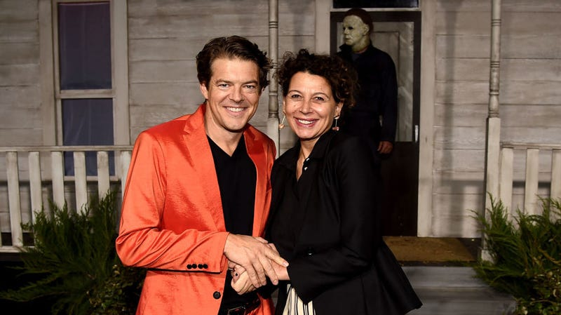 Producer Jason Blum, left, with Universal Pictures chairman Donna Langley, at the premiere of Halloween in Hollywood Wednesday night.