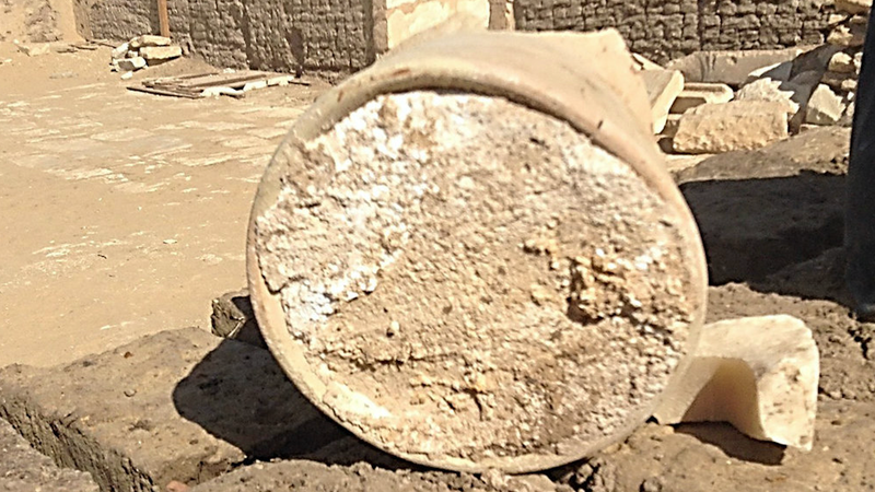 The pottery jar containing the ancient cheese.