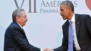 Cuban President Raúl Castro andPresident Barack Obama shake hands during a meeting on the sidelines of the Summit of the Americas at the ATLAPA Convention Center April 11, 2015, in Panama City.MANDEL NGAN/Getty Images