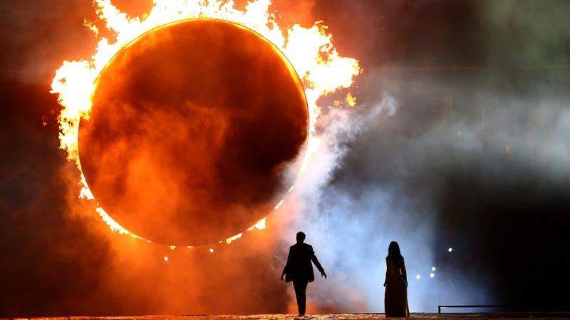 This is not a real eclipse. It's a ring of fire representing a total solar eclipse, from the Opening Ceremony for the Baku 2015 European Games.If you'd like, you can stare directly at it. Photo via Getty Images.