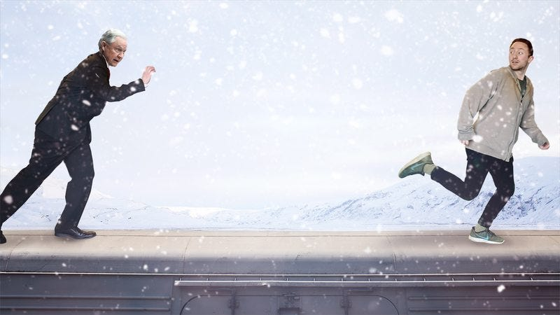 Attorney General Jeff Sessions chasing a high school senior on the roof of a train.