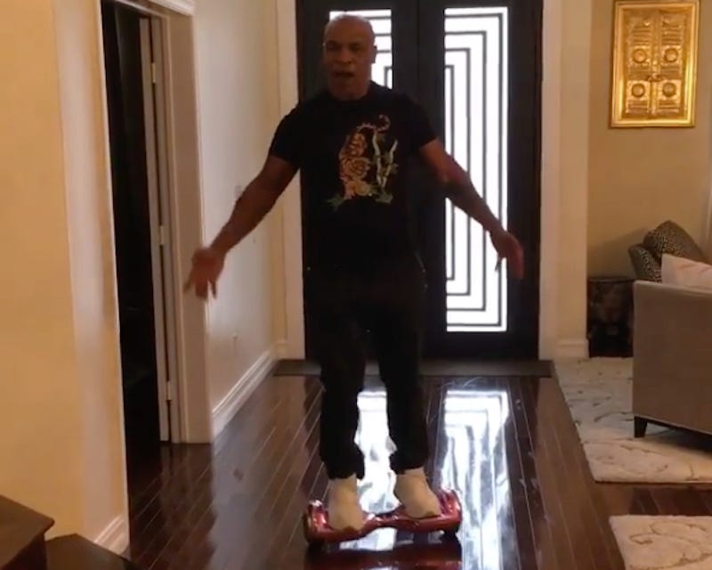 Illustration for article titled Mike Tyson Falls Off A Hoverboard Like An Asshole