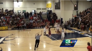 Video image of the basketball game between Oak Ridge and C.K. McClatchy high schools in California.KCRA Screenshot