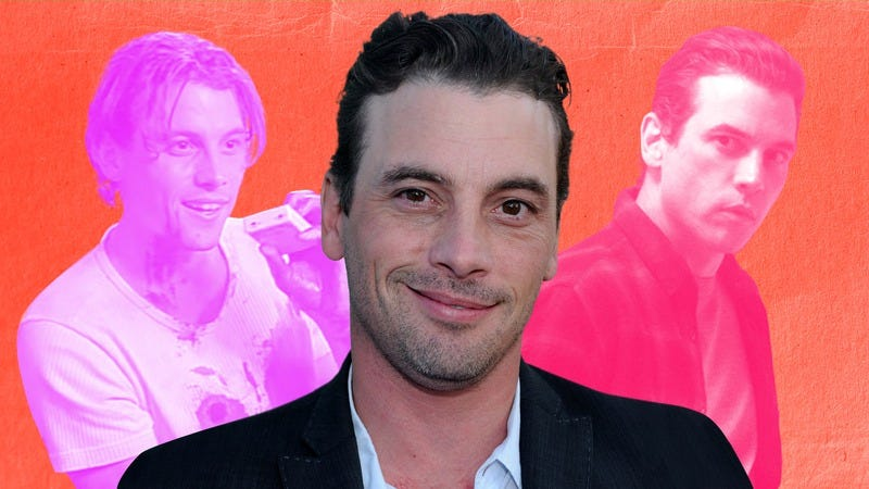 Skeet Ulrich (center, photo: Alberto E. Rodriguez/Getty Images), in Scream (left, screenshot: Scream) and Riverdale (right, photo: The CW). Graphic: Jane Harrison.