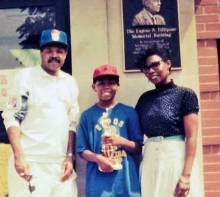 My parents and me outside the Shadyside Boys & Girls Club in 1991