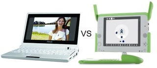 Illustration for article titled Cheap Laptop Deathmatch: OLPC XO Laptop Vs. Asus Eee PC