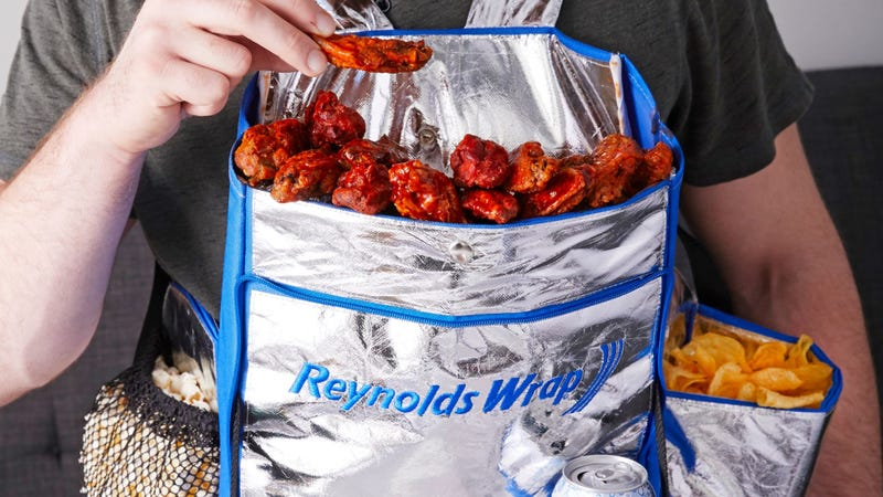 "Illustration for article titled Reynolds Wrap creates ""Hunger Harness""/feed bag to keep your Super Bowl snacks handy"
