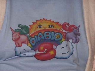 Illustration for article titled Where Are The Official Diablo III Rainbow Unicorn Shirts?