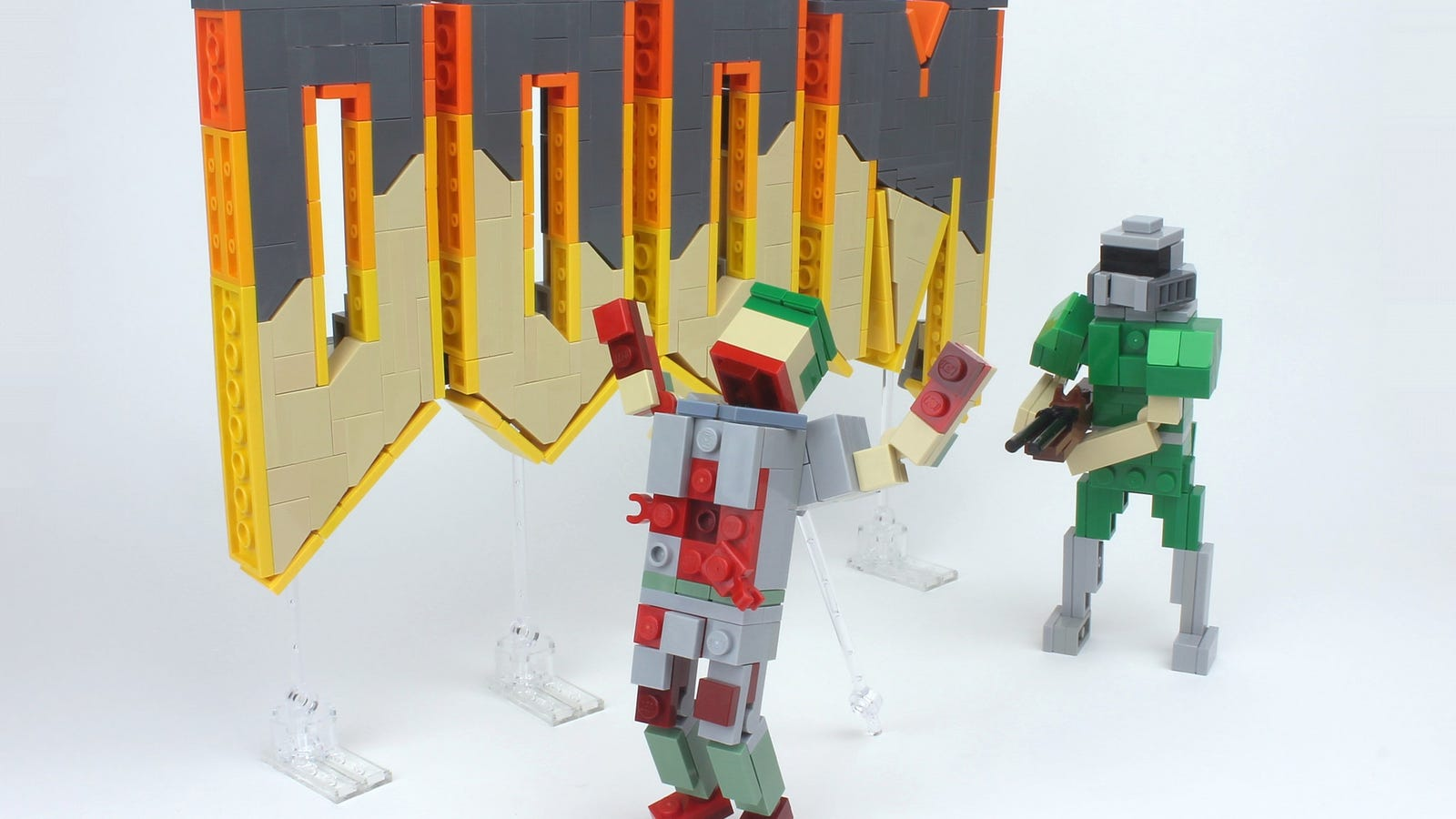 Doom looks perfectly pixelated in Lego form