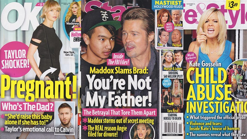 Illustration for article titled This Week In Tabloids: Is This the First Time Taylor Swift Has Gotten a Fake Pregnancy Cover?