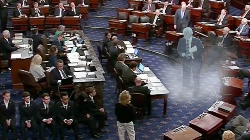 The spirit of Ted Kennedy before the Senate.
