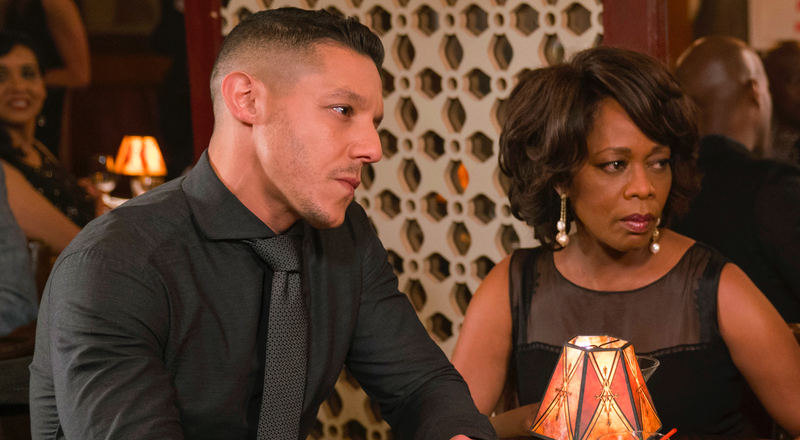 Theo Rossi as Shades and Alfre Woodard as Mariah Dillard in Luke Cage.