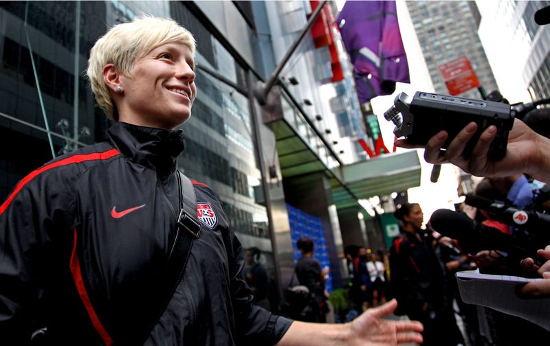 """Illustration for article titled """"I'm Gay,"""" Says Megan Rapinoe. """"That's Nice,"""" Says Everyone."""