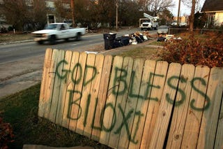 A sign in Biloxi, Miss., in the aftermath of Hurricane Katrina in Sept. 2005.(Spencer Platt/Getty Images)