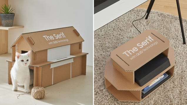 Samsung Redesigned Its TV Boxes to be Easily Converted Into Cat Houses and Entertainment Centers