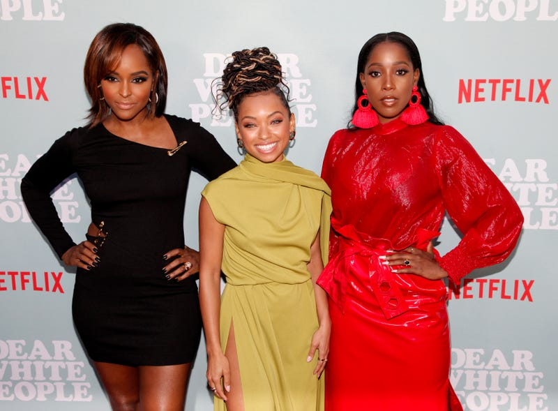 #BlackGirlMagic in triplicate: Antoinette Robertson, Logan Browning and Ashley Blaine Featherson attend the screening of Netflix's Dear White People season 2 May 2, 2018, in Hollywood, Calif.