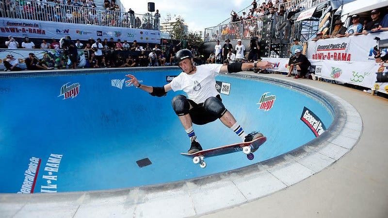 Tony Hawk competes in BOWL-A-RAMA in Sydney, Australia in 2016.